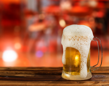 brewery: cold light beer mug in a pub