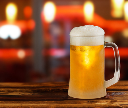 brewery: cold light beer glass mug in a pub Stock Photo