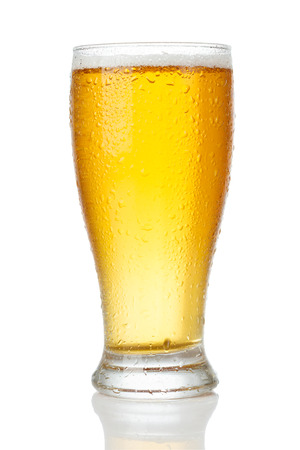 Glass of beer isolated on white background Foto de archivo