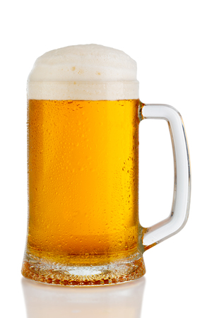 cold mug of beer with foam isolated on white background 스톡 콘텐츠