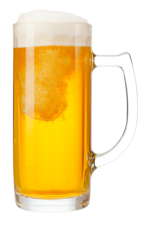 cold mug of beer with foam isolated on white background Stock Photo - 98547714