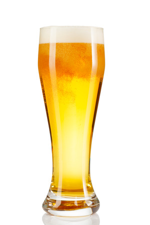 A glass of beer isolated on white background