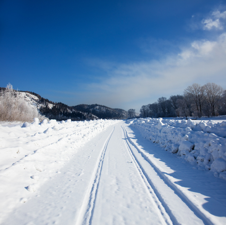Winter landscape with road Stock Photo