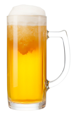 cold mug of beer with foam isolated on white background Stock Photo