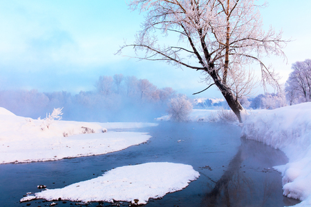 Winter landscape of trees and river in a foggy morning. Frost and cold and sunshine. Stock Photo