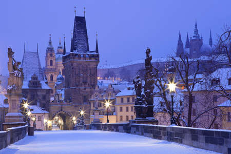 prague castle: Czech Republic - Prague -  Charles Bridge in winter morning