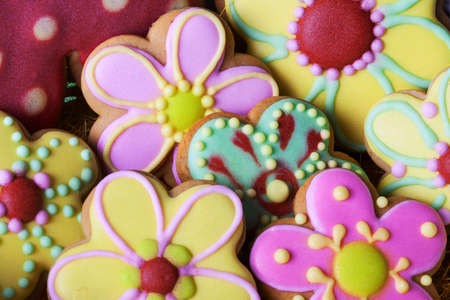 decorating: Easter traditional Gingerbread cookies beckgroung Stock Photo