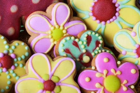 decoracion de pasteles: Galletas de Pascua tradicional pan de jengibre beckgroung Foto de archivo