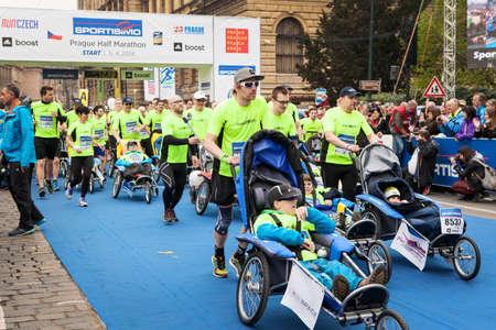 dystrophy: Prague, Czech  Republic – April, 2014, Half Marathon Praha