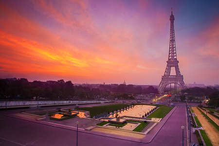 Sunrise in Paris, with the Eiffel Tower photo