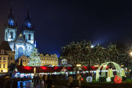 PRAGUE,CZECH REPUBLIC-JAN 05, 2013: Prague Christmas market on Old Town Square on 02.01.2014 in Prague