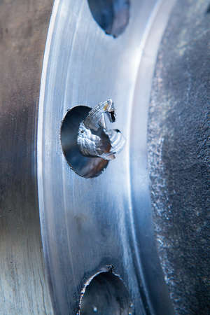 splinter: Splinter on whole edge of valve flange Stock Photo