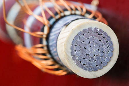 Detail of cross section of electrical aluminum cable for power supply of tram public transport Stok Fotoğraf - 31936837