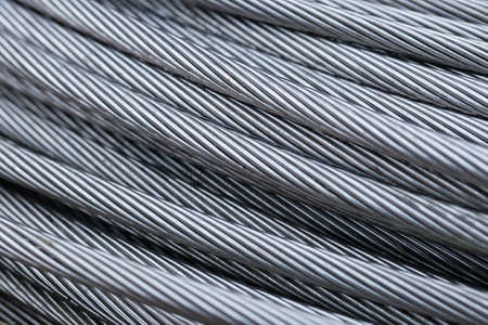 Closse up steel wire rope cable background Stock Photo
