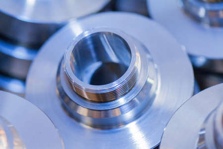 Industrial background from circle metalic parts after machining
