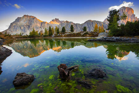 view of the Limides Lake and Mount Lagazuoi, Dolomites - Italy