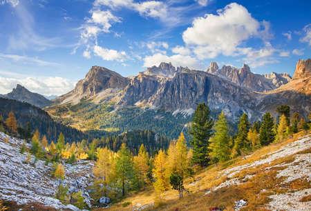Mount Lagazuoi, Falyarego path, from Cinque Torri, Dolomites  - Italy Stock fotó
