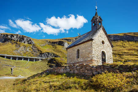 waterwheel: Small chapel on the top serpentines of The Grossglockner Hochalpenstrasse, a famous mountain road in Austria