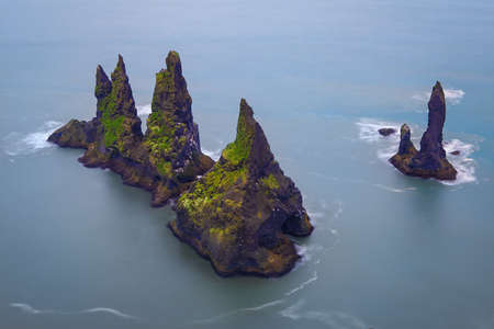 Famous Reynisdrangar cliffs at south coast of Iceland Stock Photo