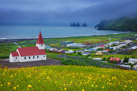 country church: Church in Vik, Little Town in Southern Iceland