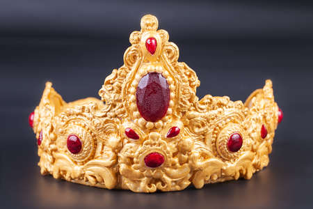 crown background: Crown - Delicious luxury ping wedding or birthday cake with golden decoration Stock Photo