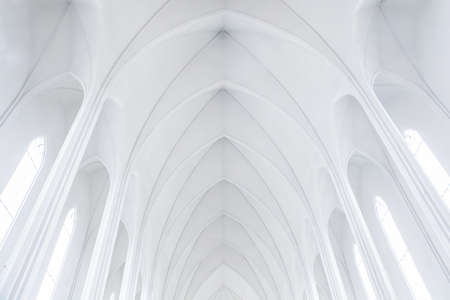 Hallgrimskirkja Church, Reykjavik, Iceland. The church architecture echoes the collumnar basalt formations common in Icelandic geology