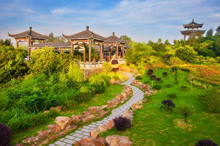 chinese garden: Beautiful ancient temple with blue sky and fog, Dongtou island, Wenzhou, Zhejiang province, China