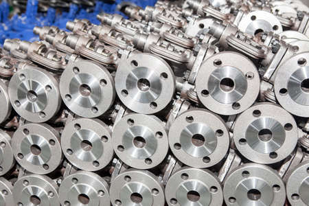 Industrial background from part of valves for power, oil or gas industry Stok Fotoğraf