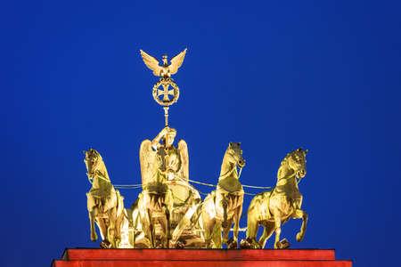 quadriga: Quadriga on Brandenburg gate in Berlin, Germany