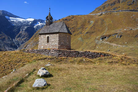 hochalpenstrasse: Small chapel on the top serpentines of The Grossglockner Hochalpenstrasse, a famous mountain road in Austria