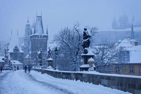 charles bridge: Czech Republic - Prague -  Charles Bridge in winter morning