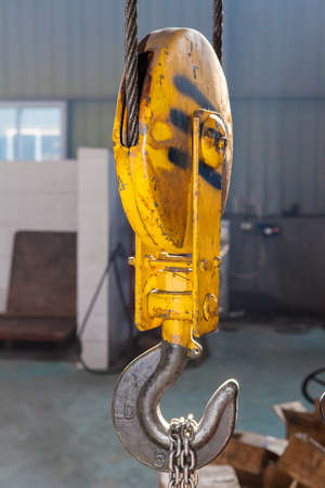 engineering design: Metallic industrial hook for lifting heavy thing in the factory