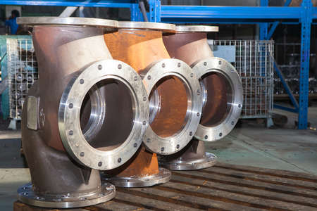 body dimensions: Industrial background from part of valves for power, oil or gas industry Stock Photo