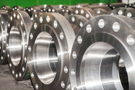 machined: Industrial background from part of valves for power, oil or gas industry Stock Photo