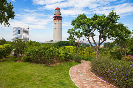 Lighthouse in a park during sunny day. Xiamen, Fujian provicne, China