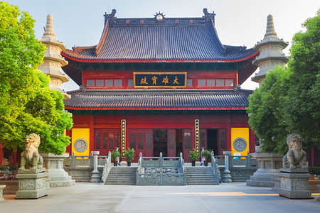Wuzhen, China - June 24, 2016: Buddha Foguangpuzhao temple. Wuzhen water village is Shanghai tourist attraction with more than 100000 visitors per year. Wuzhen is part of Tongxiang, located in northern Zhejiang Province, China.