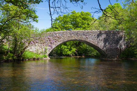 The arche of the stone hump back bridge over the river, Typical scotish landscape in summer. Scotland. UK