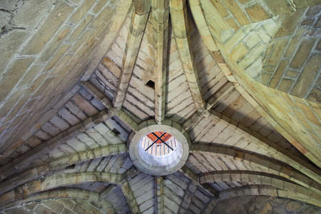 Detail of ceiling of gothic tower. Remains of Cambuskenneth Abbey an Augustinian monastery located near Stirling. Also the location of the tomb of James III, King of Scots. Scotland, UK Stok Fotoğraf