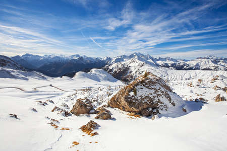 Snow covered pass in the Italian Dolomites, Winter landscape of Passo Giau under Averau peak, Belulo and Trentino area, Dolomites, South Tyrol, Italy Stok Fotoğraf