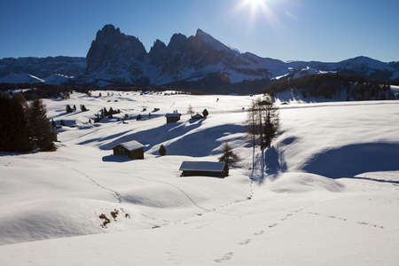 Wooden mountain chalets with a view on the Langkofel and Plattkofel (Sassolungo and Sassopiatto) dolomites mountains at the Alpe di Siusi or Seiser Alm in South Tyrol, Dolomites, Italy in winter. Stok Fotoğraf