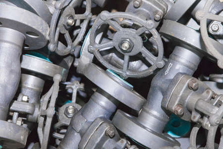 Industrial background from part of valves for power, oil or gas industry Standard-Bild