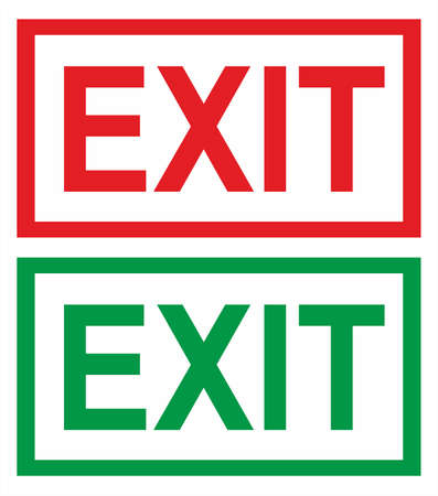 Sign - Exit - red & green Vector