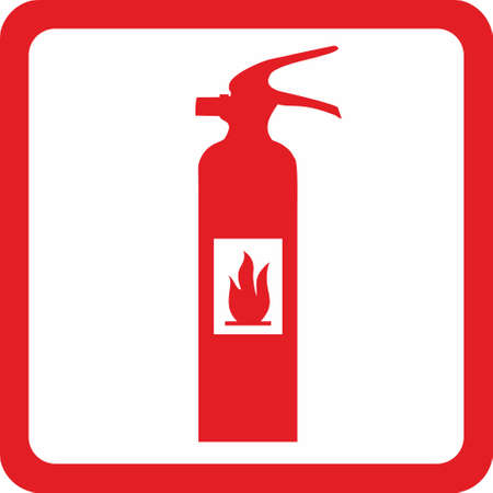 fire extinguisher sign: Sign - Extinguisher in red frame