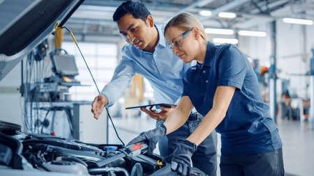 Schöne befähigende Mechanikerin arbeitet an einem Auto in einem Autoservice. Frau in Schutzbrille repariert den Motor. Sie benutzt eine Ratsche. Moderne saubere Werkstatt mit Autos.