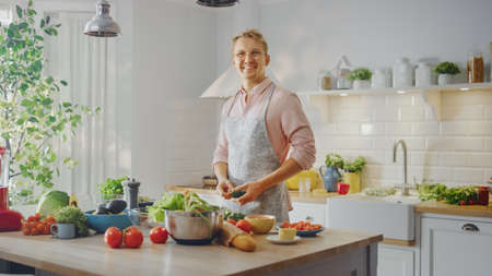 Handsome Man in Pink Shirt and Apron is Making a Healthy Organic Salad Meal in a Modern Sunny Kitchen. Hipster Man in Glasses Smiles at the Camera. Natural Clean Diet and Healthy Way of Life Concept.