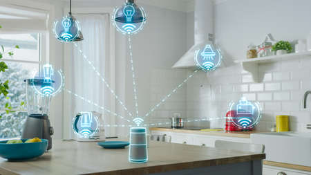 Internet of Things Concept: Modern Kitchen full of High-Tech Kitchen Appliances with IOT, Infographics Show Various Data and Information. Digitalization, Visualization of Home Electronics Devices Banque d'images