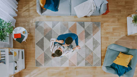 Young Happy Couple is Energetically Dancing in an Apartment. Cozy Living Room with Modern Interior with Carpet, Sofa, Chair, Coffe Table, Book Shelf, Plant and Wooden Floor. Top View.