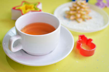 bickie: image of tea, tasty cookies and molds Stock Photo