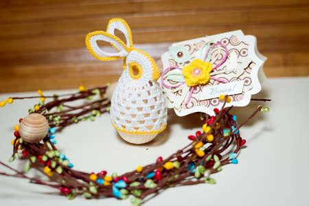 Image of handmade decoration elements on light copy space background photo