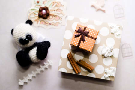 hand crafted: Hand crafted gift set with knitted toy